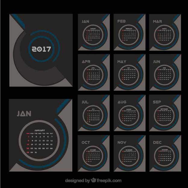 Элегантный современный календарь 2017