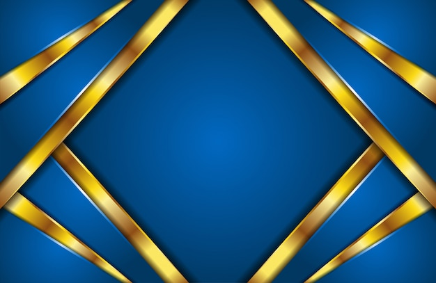 Elegant modern abstract blue and golden lines background