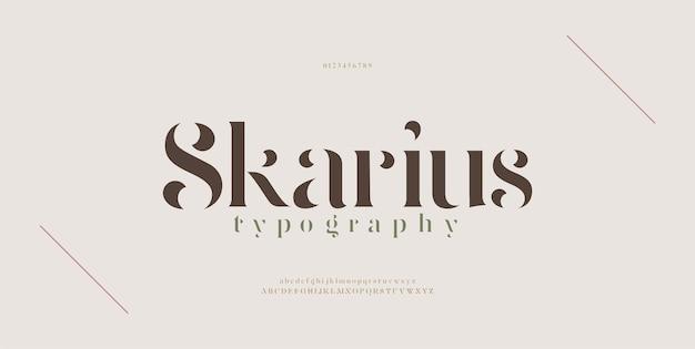 우아한 현대 알파벳 문자 글꼴. 클래식 레터링 최소한의 패션 디자인. 타이포그래피 현대 세리프 글꼴 일반 장식 빈티지 개념.