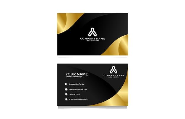 Элегантная современная визитка golden wavy