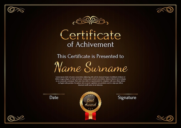 Элегантный современный шаблон сертификата