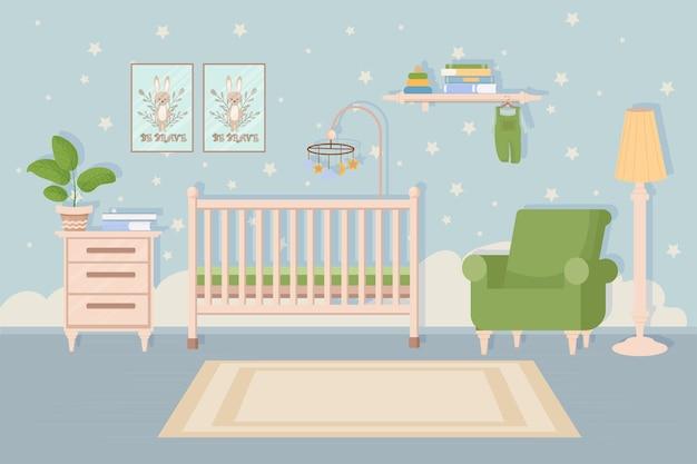 Элегантный современный удобный интерьер спальни для малышей, детская кроватка, стул, стол и полка