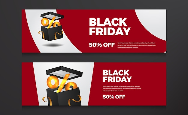 Elegant modern curve sale banner with open gift box for special offer black friday template