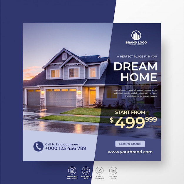 Elegant modern dream home real estate social media post template for sale