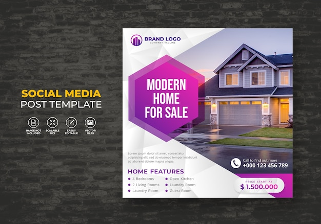 Elegant modern dream home for sale real estate social media post  template