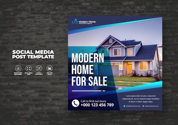 Elegant modern dream house home for rent sale real estate campaign social media post template