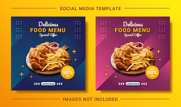 Elegant modern food menu instagram post social media template