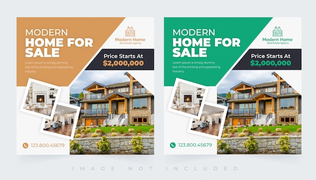 Elegant modern home real estate social insta post template set