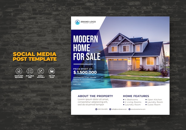 Elegant modern home real estate social media post template property