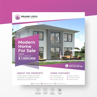 Elegant modern home real estate social media post template for sale
