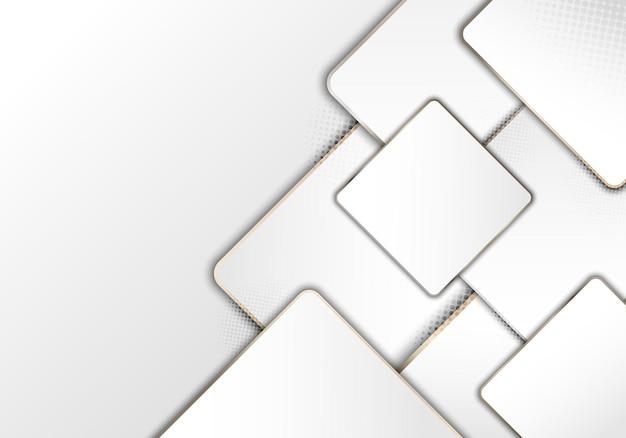 ゴールドラインのエレガントでモダンな豪華な白い幾何学的な正方形