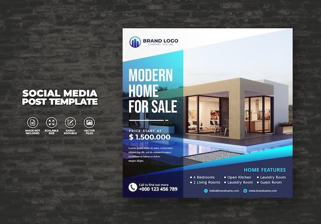 販売ソーシャルメディアバナーポスト&スクエアフライヤーテンプレートのためのエレガントなモダンな不動産の家