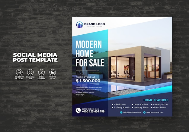 Elegant modern real estate home for sale social media banner post & square flyer template
