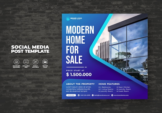 Elegant modern real estate home for sale social media banner post & square house flyer template