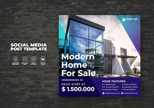 Elegant and modern real estate home sale for social media banner post & template square flyer