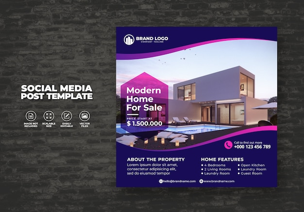 Elegant and modern real estate home for sale social media house banner post & square flyer template