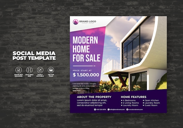 Elegant modern real estate home for sale social media house banner post & square flyer template Premium Vector