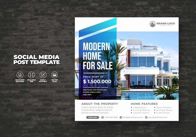 Elegant and modern real estate home sale for social media house banner post & template square flyer