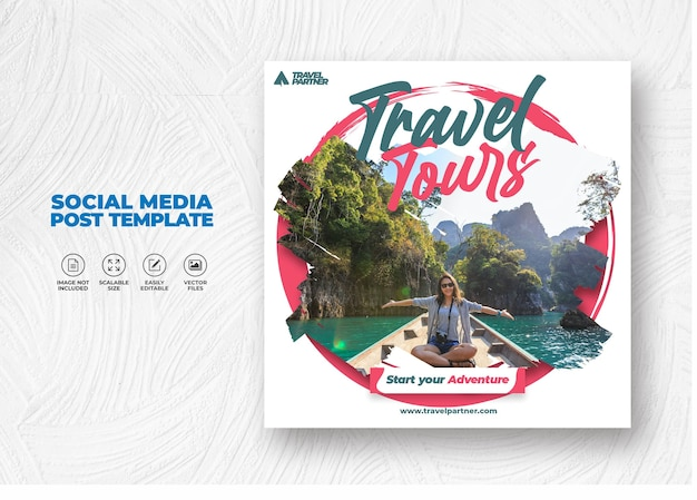 Elegant modern tour and travel for sale campaign social media post template