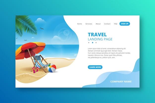 Elegant modern travel landing page template
