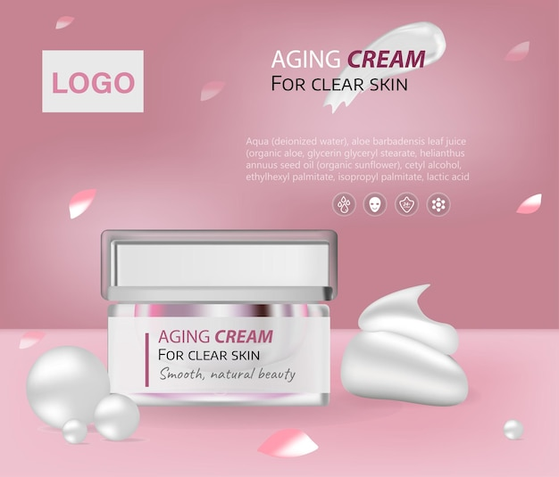 Elegant moisturizing cosmetic products and luxury light red background with cream jar on