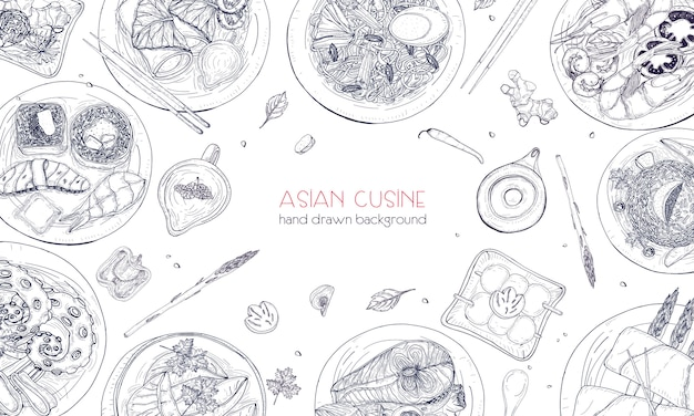 Elegant monochrome hand drawn background with traditional asian food, detailed tasty meals and snacks of oriental cuisine - wok noodles, sashimi, gyoza, fish and seafood dishes. illustration.