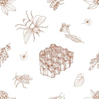 手描きの蜂とエレガントな白黒のシームレスパターン
