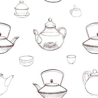 Elegant monochrome seamless pattern with traditional japanese tea ceremony tools hand drawn with contour lines on white background - teapot, cups or bowls, tetsubin kettle. illustration.