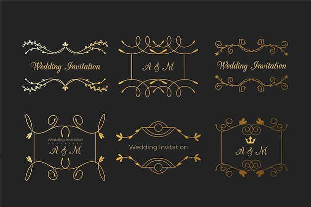 Elegant monograms for wedding with ornaments
