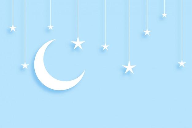 Papercutスタイルのエレガントな月と星の背景