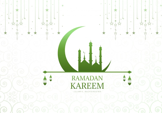 Элегантная луна с фоном мечеть рамадан карим