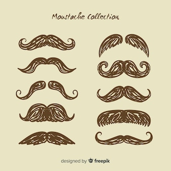 Elegant moustache collection with vintage style