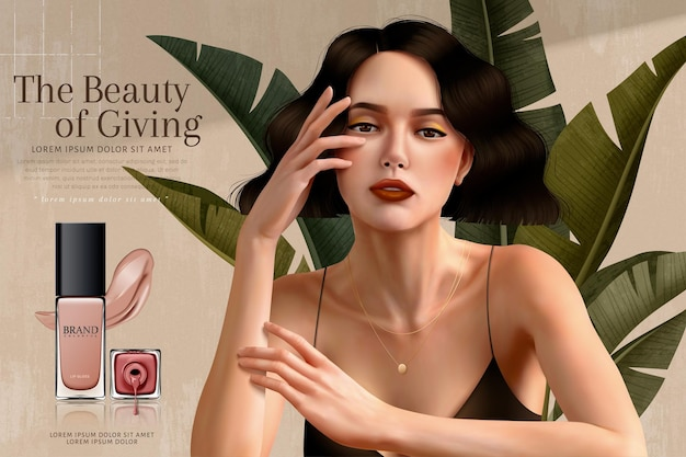Elegant nail lacquer ads with brunette woman who wears spaghetti strap dress in 3d illustration