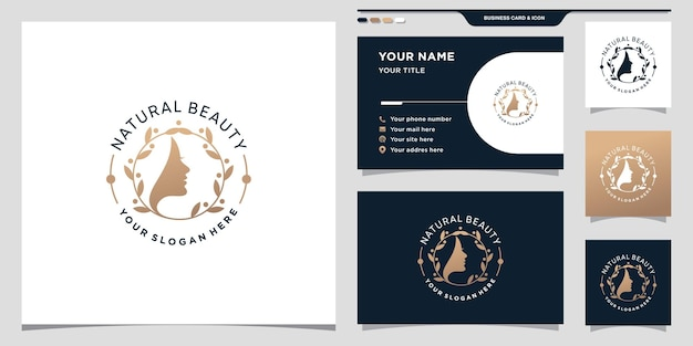 Elegant natural beauty woman face logo with creative modern concept and business card premium vector