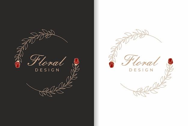 結婚式のフレーム、美容院、ファッション、化粧品店のためのエレガントな自然の花のロゴのデザイン。