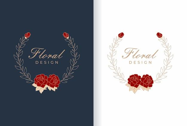 Элегантный дизайн логотипа из натурального цветка для свадебной рамки, салона красоты, магазина моды, косметики.