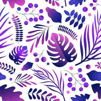 Элегантный естественный градиент ярко-фиолетовые листья бесшовные модели. цветной дизайн пышных экзотических растений поздний завтрак вектор плоской иллюстрации. тропический стильный принт обоев на белом фоне.