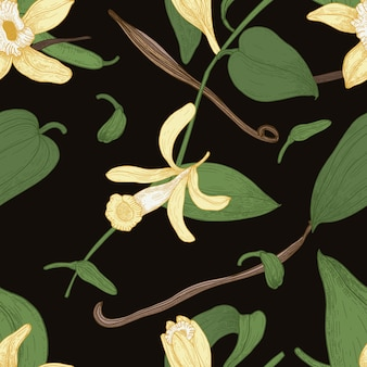 Elegant natural seamless pattern with vanilla, leaves, flowers and fruits or pods on black background.