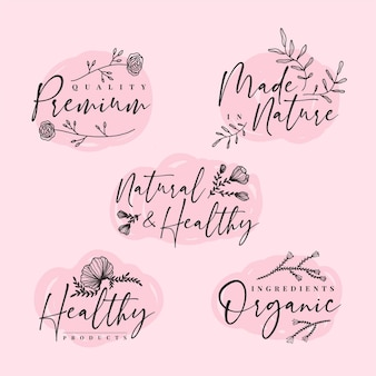 Elegant nature cosmetics logos collection