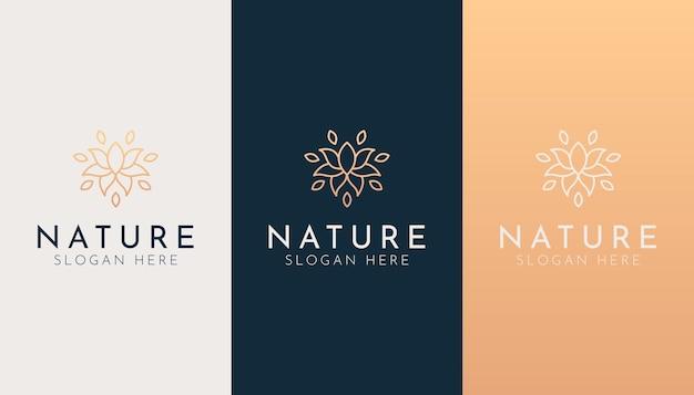 エレガントな自然の花のラインアートのロゴのテンプレート