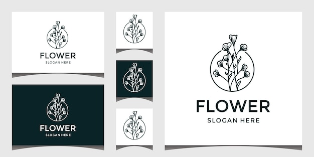 Elegant nature flower logo