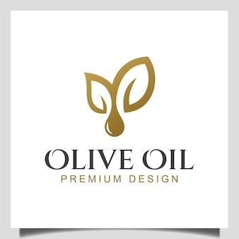 Элегантная натуральная капля ветви оливкового масла для здоровья, еды, косметики, дизайна логотипа органического масла