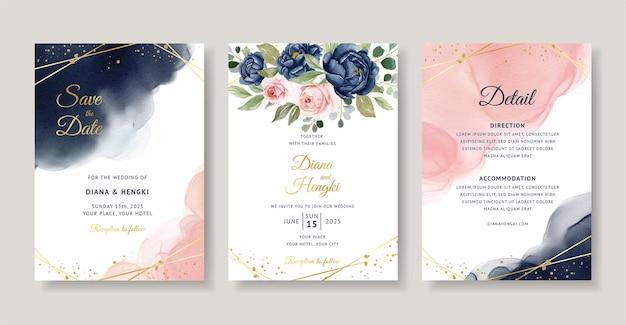 エレガントなネイビーと赤面の花の水彩画の結婚式の招待カード