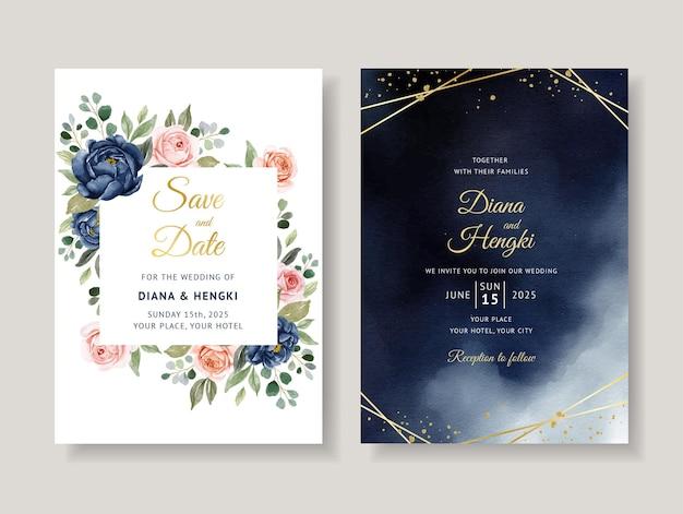 ゴールデンラインのエレガントなネイビーフローラル水彩結婚式の招待カードテンプレート