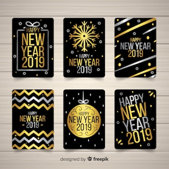 Элегантная коллекция карт 2019 года с золотым стилем