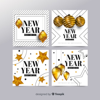 Elegant new year 2019 card collection with realistic design