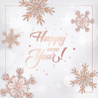Elegant new year 2019 card with rose gold christmas balls wreath for invitation, greetings or flyer and christmas brochure