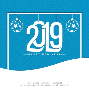 Elegant new year 2019 decorative blue background