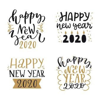 Elegant new year 2020 lettering set