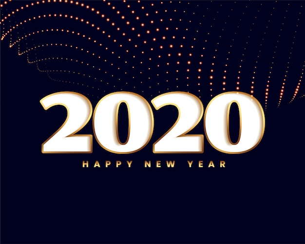 Elegant new year 2020  with golden particle wave